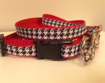 Small 1/2 inch Red and Houndstooth Alabama Leash and Collar Set