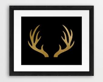 Antler Print, Deer Antlers Silhouette Gold And Black, Gold Antler Wall Art, Modern Art, Nursery, Home Decor, Printable Art, Instant Download