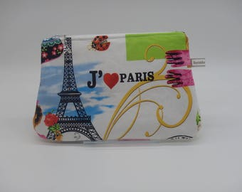 Paris Makeup Bag, French Cosmetic Clutch, Sweetheart Bag, Zip Pouch, Makeup Case, Wet Sack, Ditty Bag, Gifts for Her