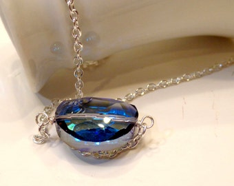 Sparkling Blue Glass Necklace