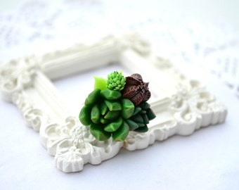 Succulent planter ring. Green brown succulent ring jewelry. Rustic botanic ring. Bridesmaid succulent ring. Clay succulent ring. Cactus ring