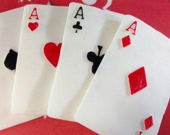 Fondant Poker, Fondant Cards, Poker, Edible Playing Cards, Poker Cake, Cake Topper Playing Cards, Edible Poker Cards