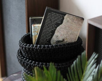 Black Crocheted Storage Bag