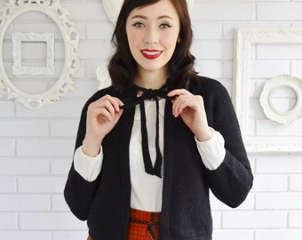 Vintage 1950s Black Wool Open-Front Cardigan with Neck Ties by Koret of California Size Small