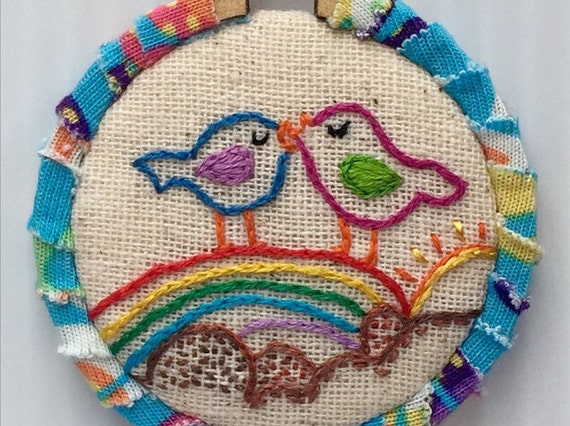 Colorful Love Birds Hand Embroidered Mini Hoop Art, Tweets, Rainbow, Spring, Whimsical, Hand Embroidered