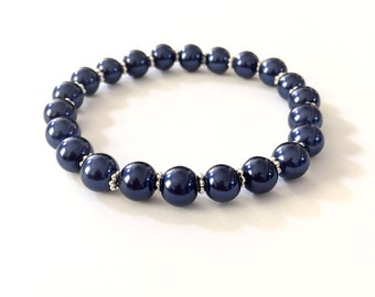 Navy Blue Pearl Stretch Bracelet