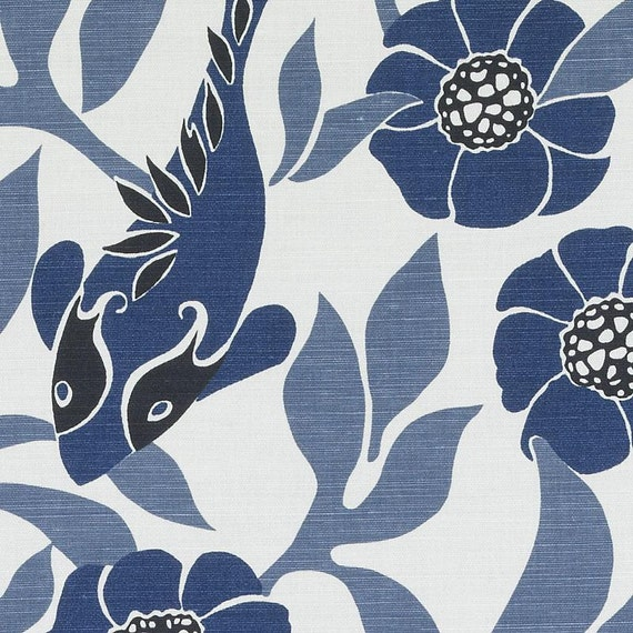 Navy Blue and White Drapery Fabric Blue Bird Curtain Fabric