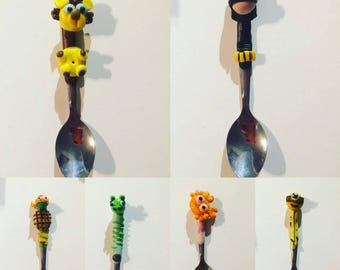 Set of 6 small tea/coffee spoons steel decorated with polymer clay, adults and children