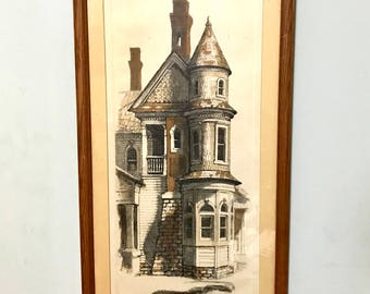 Vintage 1970s Etching aquatint by James Yarbrough, American 20th century, victorian house, 622 Grant St. Grant Park mansion, Atlanta Georgia