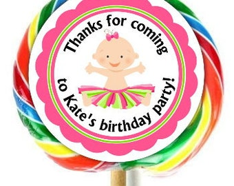 Tutu Baby Birthday Lollipop Stickers, 1st Birthday Decoration Stickers, Extra Large Personalized Stickers, Fit on WHIRLY LOLLIPOPS