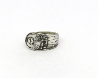 1900 Jello Girl ring, Spoon ring, Advertising ring, Antique ring, Unique ring, Novelty ring