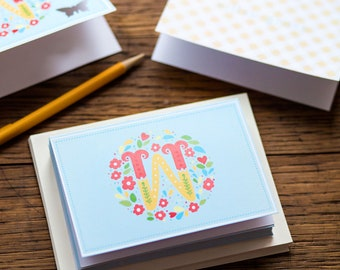 Custom Floral Monogram Note Cards | Personalized Stationery | Stationary | Thank you Cards | Gingham | Stationery Set | Kids