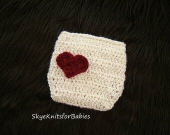 Crochet Newborn Diaper Cover, Crochet Heart Diaper Cover, Baby Diaper Cover, Newborn Diaper Cover, Baby Photography Prop, Newborn Photo Prop