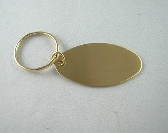 Brass Oval Brass Custom Key Tag,  Free Engraving