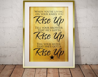 Hamilton Musical Quote Rise Up Typography Poster Print