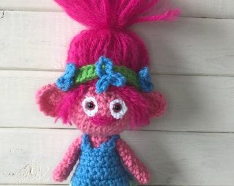 Princess poppy doll.  Crochet Troll doll.