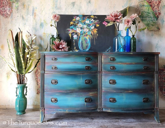 Gorgeous Bohemian Blue Dresser - Buffet