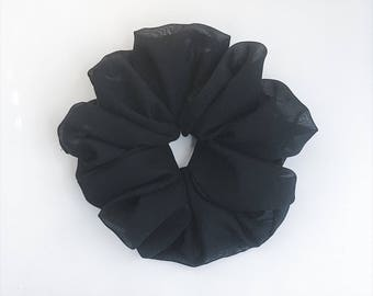 Black Chiffon Scrunchie, Ponytail holder, Big Hair Scrunchie, Hair Scrunchie, Hair Tie, Scrunchie Hair Bun