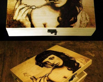 Wooden box decorated with pyrography, handmade, realistic image