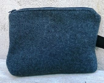 Case/pouch black cotton lined grey wool