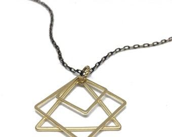 Gold Geometric necklace, Modern shapes long necklace, simple geometric jewelry,Layer Long black and gold chain, Architectural necklace