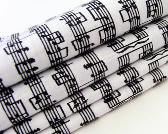 Sheet Music Cotton Napkins / Set of 4 / Black Music Notes on White Music Lover & Musician Table Decor / Unique Eco-Friendly Gift Under 50