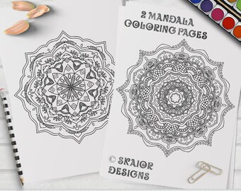 Mandala Coloring Pages Relaxation Coloring Printable Adult Coloring Pages Detailed Henna Coloring Pages Yoga Coloring Meditation Coloring 03