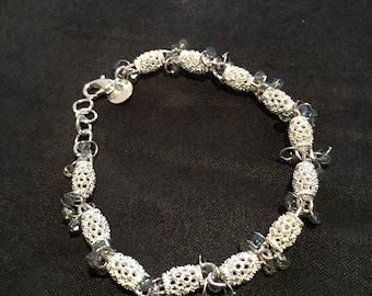 Sterling Silver Swarovski crystal  8 inch bracelet