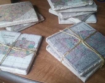 Custom Vintage Map Coasters Personalized coasters Custom coasters Wedding favor coasters State Map Coasters Ceramic Stone Coasters Favors