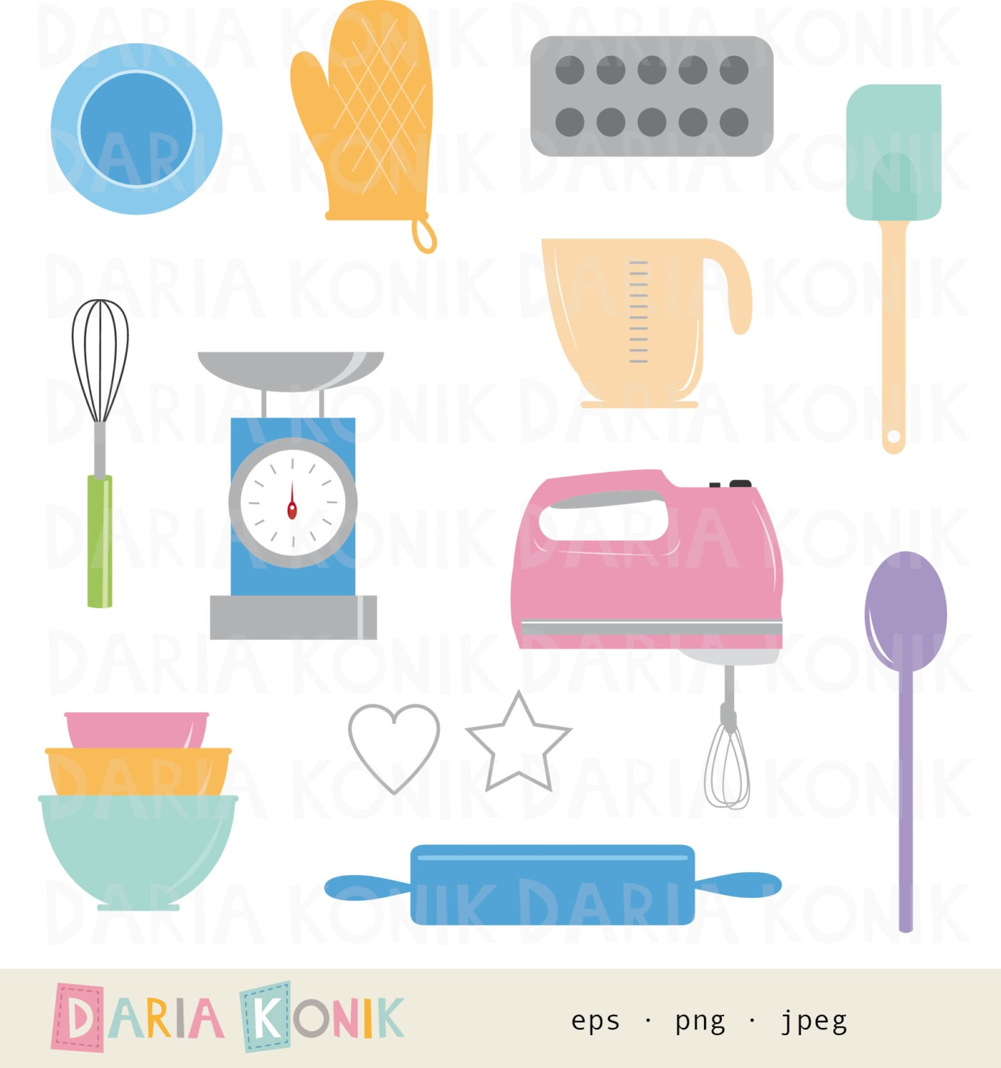 Baking Clip Art Set-kitchen Clipart Baking Utensils Rolling