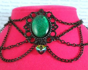 Handpainted green stone and black chain choker necklace gothic victorian