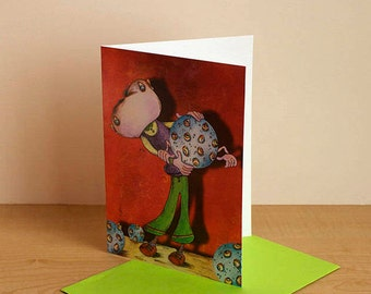 Birthday card, card for boys, greeting card, card any occasion card blank, card for children, funny card