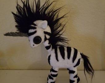 Little felt Hand stitched zebracorn