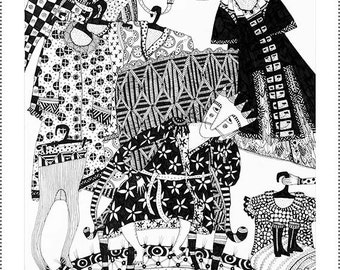 Unusual art, Black and white print, The Emperor's New Clothes, Archival print illustration.