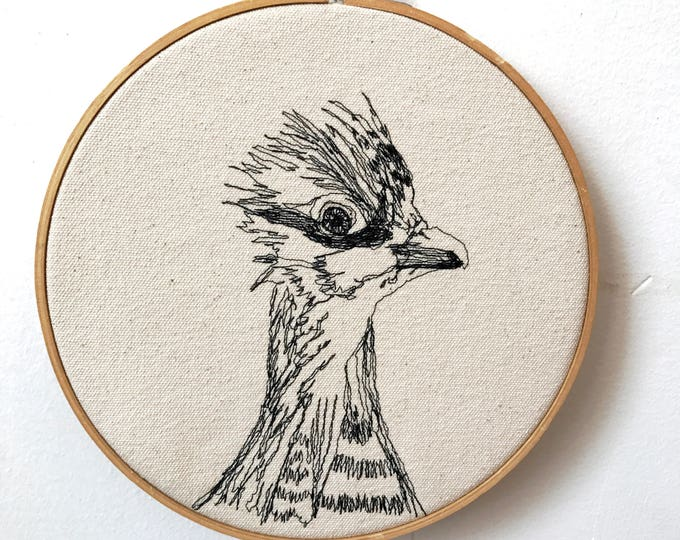 Featured listing image: Freehand Machine Embroidered Greater Prairie Chicken  Portrait