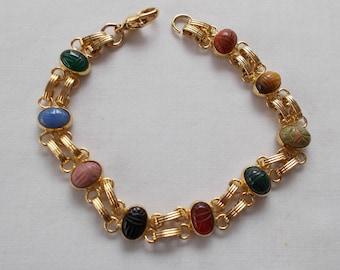 Gold Tone Costume Scarab Bracelet.  (736)