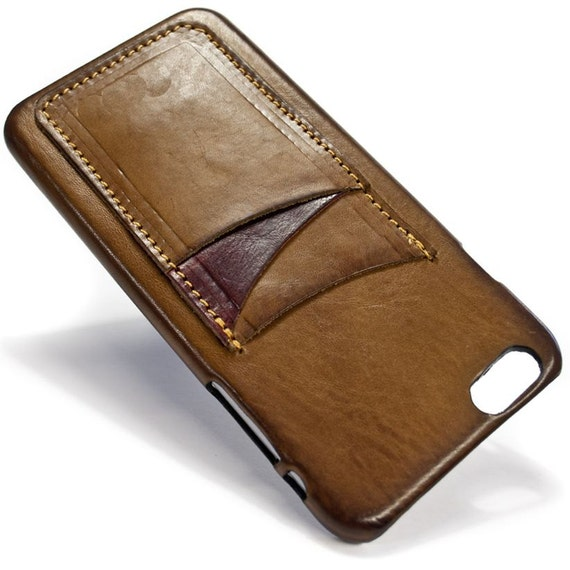 """iPhone 6S PLUS display 5.5"""" Italian Leather Case with 3 credit cards holder vertical SLOTs choose the color of BODY and ACCENT"""