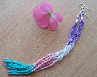 Extra Long earrings long seed bead earrings long fringe earrings fringe earrings Beaded Earrings