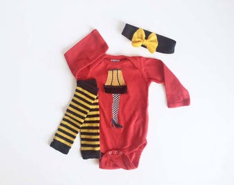 Pre-Order FREE SHIPPING Leg Lamp on Red Long Sleeve One Piece with hand dyed leg warmers and Bow Headband