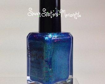 Merope - Seven Sisters Nail Lacquer - 15 mL 0.5 Fl Oz. - Pleiades Collection - Electric Blue Multi chrome w/ Holographic Glitter Nail Polish