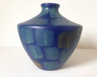 Blue Ceramic Vase, Blue and Gold Vase, Retro Vase, Modern Ceramic Vase, Patterned Vase, Mid Century Modern Vase, Mid Century Modern Decor,