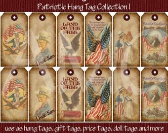 Primitive Vintage Americana Patriotic Printable Hang Tags for Scrapbooking Art