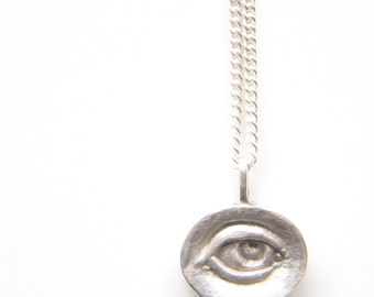 Not So Evil Eye Necklace Necklet Pendant - 925 sterling silver also in yellow and rose gold plated