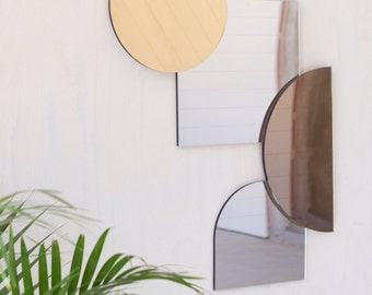 Modern Mid Century Style Mirrors in Metallics, Gold, Bronze and Silver
