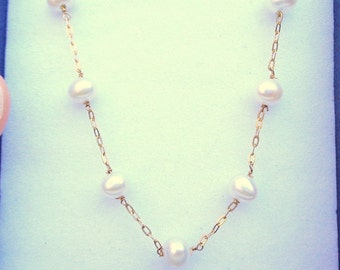 Solid 10k Gold, Genuine Pearl Necklace, 10K Yellow Gold Chain, New Vintage Stock, White Freshwater Pearls