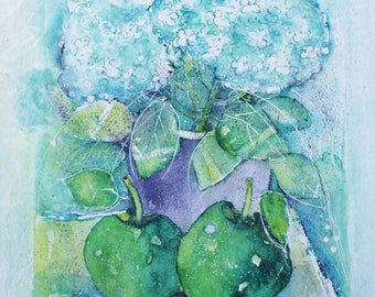 Watercolor hydrangea with green apples,watercolor painting,watercolor mixed media,Watercolor stilllive, Watercolor Flowers,home gallery