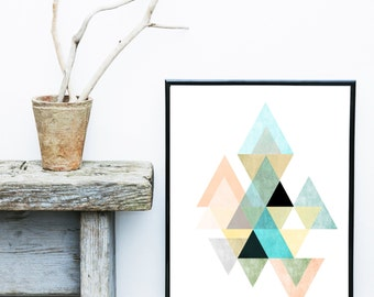 Triangle Print, Printable Art, Geometric Art, Scandinavian Art,  Geometric Wall Art, Abstract Art Print, Instant Download
