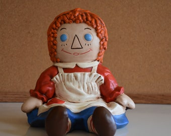 Vintage 1970 Ceramic Raggy Ann Doll
