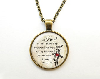 A heart is not judged quote necklace-Tin man pendant-Wizard of Oz necklace-Oz Jewelry-Custom necklace-Quote necklace-NATURA PICTA-NPNK023