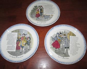 HBCM Montereau French plates three French scene plates La Mascotte V, La Vivandiere IX, and Le Coeur Et La Main XII Made in France vintage